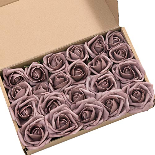 Lings moment Artificial Flowers 2 inch Dusty Rose Fake Roses and Rose Buds Pack of 24 for DIY Wedding Bouquet Boutonniere Corsage Floral Decor