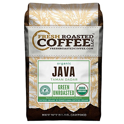 Green Unroasted Coffee Beans, 5 LB. Bag, Fresh Roasted Coffee LLC. (Organic Java Taman Dadar)