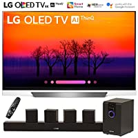 """LG OLED55E8PUA 55"""" Class E8 OLED 4K HDR AI Smart TV (2018 Model) with Sharper Image 5.1 Home Theater System w/Subwoofer, Sound Bar & Satellite Speakers"""