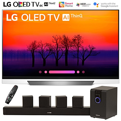 LG OLED55E8PUA 55″ Class E8 OLED 4K HDR AI Smart TV (2018 Model) with Sharper Image 5.1 Home Theater System w/Subwoofer, Sound Bar & Satellite Speakers
