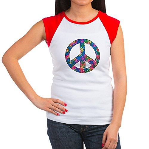 (Royal Lion Women's Cap Sleeve T-Shirt Peace Symbols Inside Tye Dye Symbol - Red/White, L (12-14))
