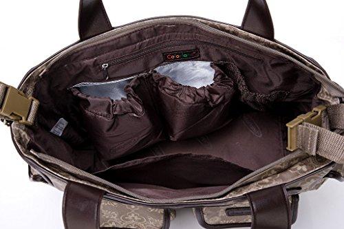 Fumee pañales bolso de pañales de + cambiador de pañales + bolsa de pañales Wet + correas para el carrito + correa de Crossbody rojo rosso caqui