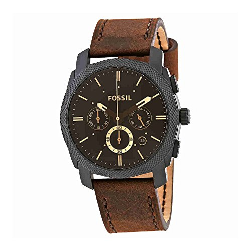 - Fossil Mens FS5251SET Machine Chronograph Dark Brown Leather Watch and Bracelet Box Set