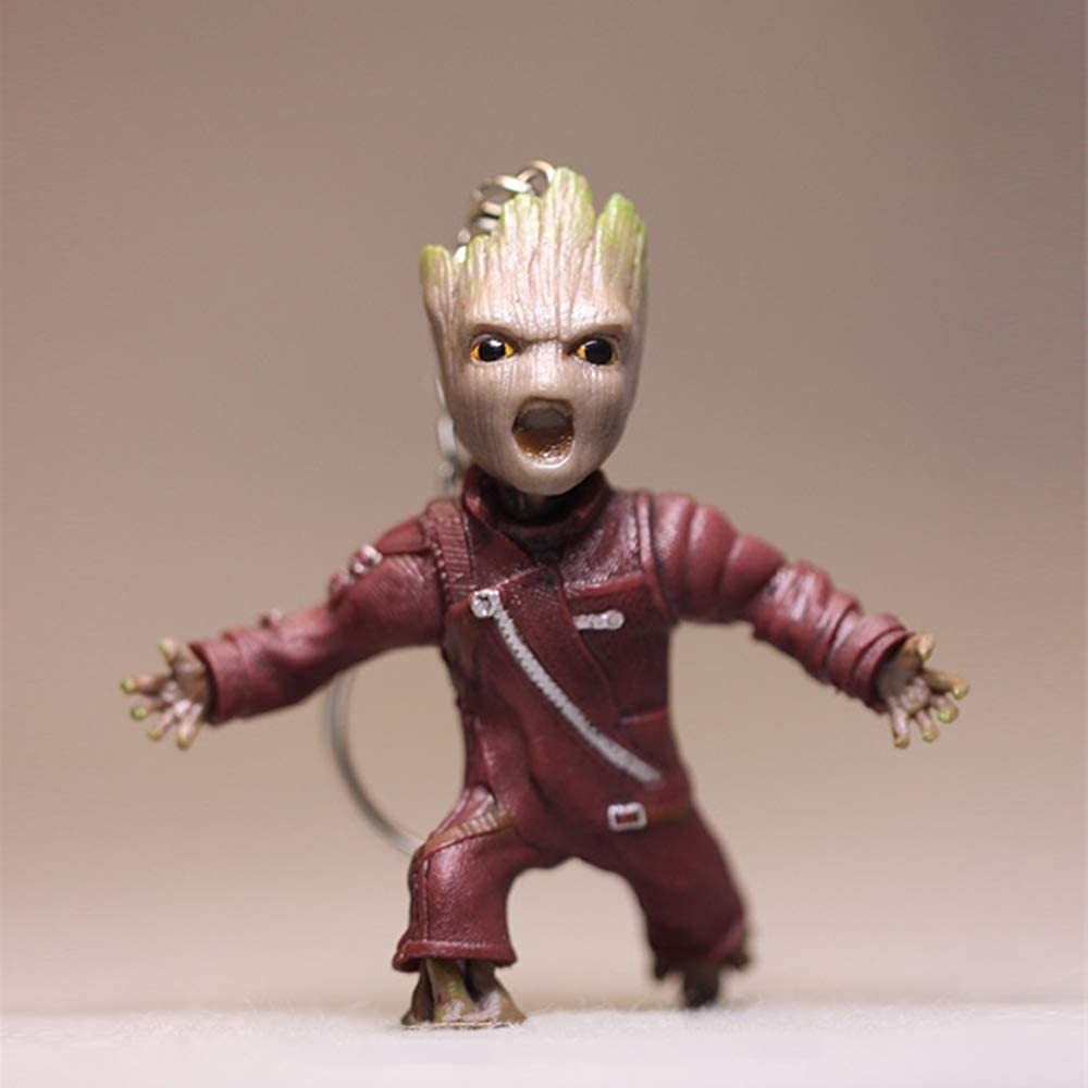 JSV-anime Tree Man Baby Groot Action Figures Doll Guardians of The Galaxy 2 Cute Model Toy Keychain Cool Best Gifts (Roar)