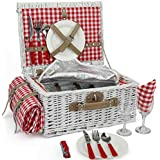 Romantic Wicker Picnic Basket for 2 Persons, Special White Washed Willow Hamper Set with Big Insulated Cooler Compartment, Free Blanket and Cutlery Service Kit for Outdoor Party or Camping