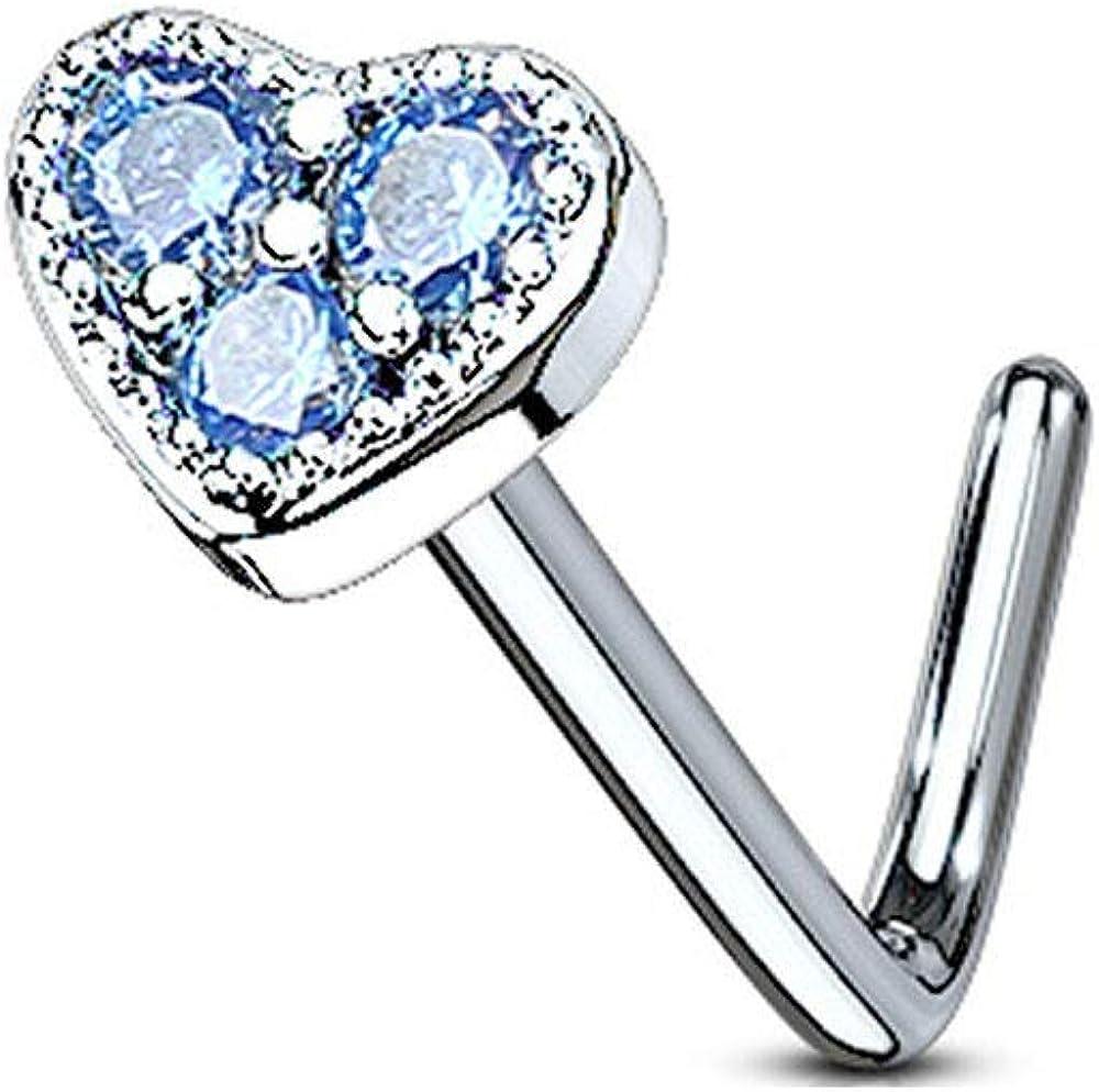 BodyJewelleryShop Surgical Steel Heart Nose Stud Aqua