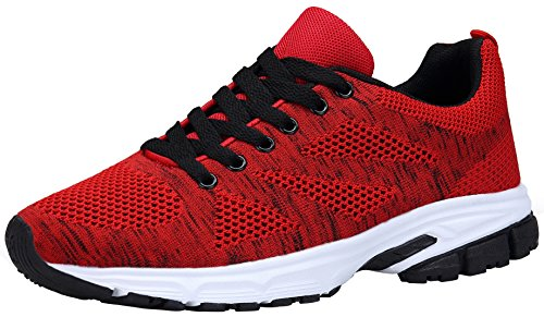 DENGBOSN Negro Zapatos Rojo Zapatillas 36 43 Deporte Deportivas Cordones Mujer de Rojo Casual Running rwr4nqC1W6