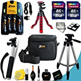 "Mega Pro 19 Piece Accessory Kit for Canon Powershot SX160 IS, SX150 IS, SX130 IS, SX120 IS, SX110 IS, SX100 IS, SX20 IS, SX10 IS, SX5 IS, SX3 IS, SX2 IS, SX1 IS, A720 IS, A710 IS, A2100 IS, A2000 IS, A1400 , A1300 , A1200 , A1100 IS , A1000 IS, A810, A800, A700, A650, A640, A630, A620, A610, A570 IS, A560, A550, A540, A530, A520, A510, A495, A490, A480, A470, A460, A430, A420, A410, A400, A300, A200, A100, A95, A85, A80, A75, A70, A60, A40, A20, A10 Digital Cameras Includes 4 AA High Capacity 3100mAh Rechargeable Batteries with Quick AC/DC Charger + 32GB High Speed Memory Card + 12"" inch Highly Flexible Tripod + Well Padded Padded Case + Full Size Pro 50 Inch Tripod + Hand Held Monopod + Mini Table Tripod + Universal Card Reader + Memory Case Holder + Screen Protectors + Premium Cleaning Kit + Ultra Fine HeroFiber Cleaning Cloth"