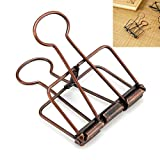Anmas Home Wire Binder Clip Hollow Paper Photo Clip Assorted Size For Office Home (30, Bronze)