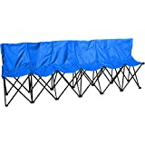 Trademark Innovations Portable Sports Bench with Back, Sits 6 People, Blue