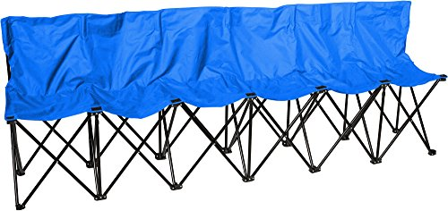 Trademark Innovations 6-Person Folding Sports Sideline Bench with Back, Blue