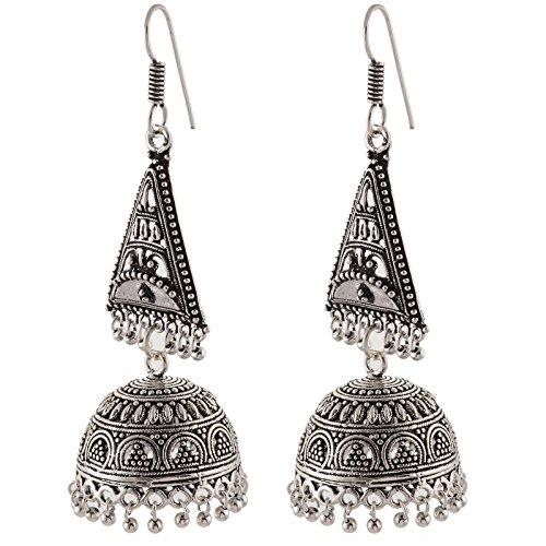Zephyrr Fashion Lightweight German Silver Dangler Hook Jhumki Earrings for Women