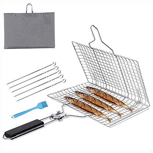 AAWINY Fish Grill Basket, Barbecue Rack Portable Stainless Steel BBQ Grilling Basket for Fish, Foldable Grill Basket…