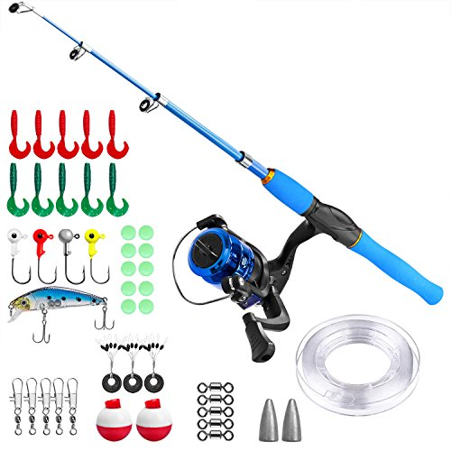 g Pole,Telescopic Fishing Rod and Reel Combos with Spinning Fishing Reel and String with Fishing Line(Blue, 120CM) ()