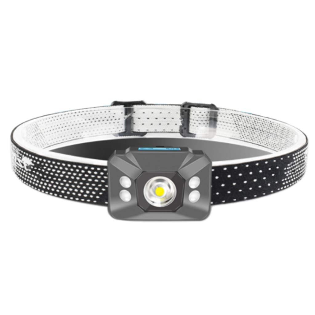 Taschenlampen Sensor Scheinwerfer Blendung Wiederaufladbare Super Helle LED Nachtfischen Lichter Geschenke Im Freien (Farbe : grau, Größe : 4  6  3.2cm)