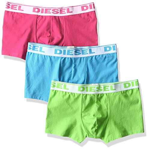 (Diesel Men's 3-Pack Shawn Stretch Boxer Trunk, Green,Turquoise,Pink, Large)