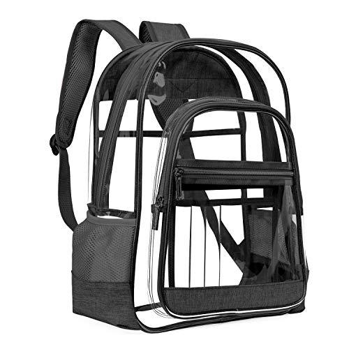 LOKASS Clear Backpack Transparent Multi-Pockets Backpacks/Outdoor Backpack Fit 15.6 inch Laptop Safety Travel Rucksack with Rose Gold Trim-Adjustable Straps & Mesh Side(Black)