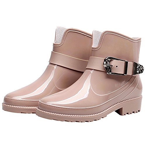 rismart Womens Ankle High Casual Button Snow Waterproof Slip On Rain Boots Pink 55gX0I