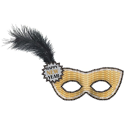 Amscan Happy New Year Fabric Sequined Mask | Party - Sequined Mask