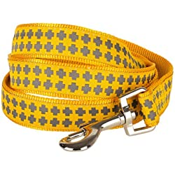 "Blueberry Pet Durable Gold Cross Print Dog Leash 5 ft x 5/8"", Small, Basic Nylon Leashes for Dogs"