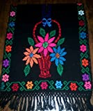Beautifully Hand Made Mexican Poncho Cross Stitch Rebozo Shawl - Measures 32-inches in width by 39-inches in length (folded) Flower cross stitch on black background