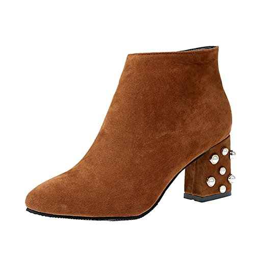 Boots Zipper Casual Ankle Boots Brown Inkach Toe High Heels Martin Womens Side Pointed Shoes Snow zIzawx8qf