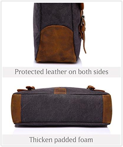 Vaschy Messenger bag for men, Vintage Leather Canvas Satchel 14in Laptop Crossbody Shoulder Bag by Vaschy (Image #5)