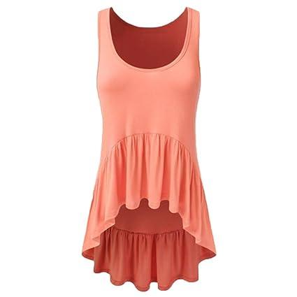 Amazon.com  Hot Dacawin Women Casual Sleeveless O-Neck Ruffle Irregular Hem Tunic  Tank Top Blouse (Orange