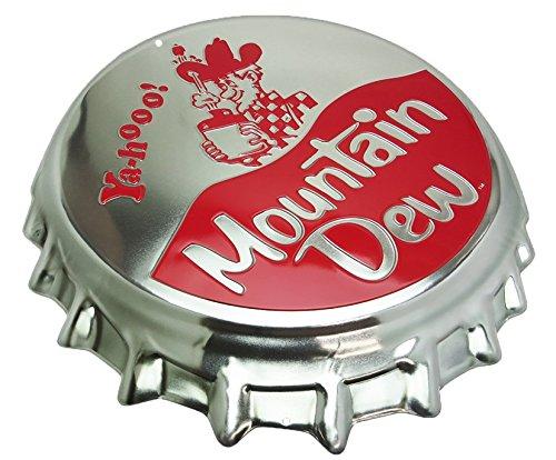Bottle Tin - Mountain Dew Bottle Cap Tin Sign 18 x 16in