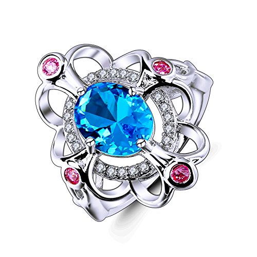Veunora Ladies' 925 Sterling Silver 8x10mm Blue Topaz Filled Floral Cocktail Ring Size ()