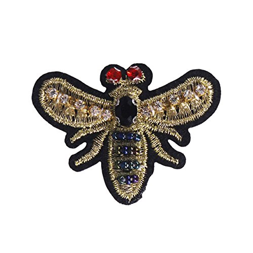 5piece Beaded Crystal Bee Badge Applique Patches Lace Fabric Patches Sew on Sticker Garment Decorated Sewing Accessories - Flowers Gold Beaded