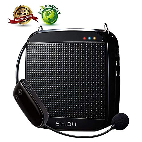 Wireless Voice Amplifier,SHIDU Wireless Voice Amplifier 2.4G 18W Portable Rechargeable PA System Loudspeaker with Wireless Microphone Headset for Teachers,Singing,Fitness Instructors,Yoga,Tour Guides (Amplifier Portable Rechargeable)