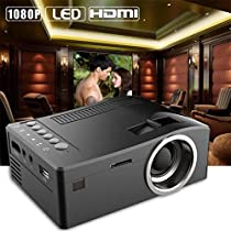 FidgetFidget Mini Home Cinema Theater 3000 Lumens 1080P HD Multimedia USB LED Projector HDMIColor: Black