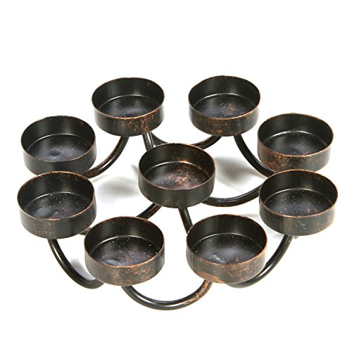 Hosley 7 Inch Bronze Metal 9 Candle Tealights Citronella Votive Candle Holder Ideal Gift for Wedding Aromatherapy Spa Zen Citronella Tealights in a Patio Candle Garden O9 ()