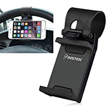 Insten Universal Phone Holder Mount Clip Buckle Socket Hands Free On Car Steering Wheel for Apple iPhone 7/ 6S/ 6,Samsung Galaxy On5/S7 Edge/ S7,LG G3/G5 and Cell Phone Width:5-7.5 CM,Black