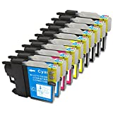 10 Pack - Compatible Ink Cartridges for Brother LC-61 LC-61 LC61 XL LC-61BK LC-61C LC-61M LC-61Y Inkjet Cartridge Compatible With Brother DCP-165C DCP-375CW DCP-385CW DCP-395CN DCP-585CW DCP-J125 MFC-250C MFC-255CW MFC-290C MFC-295CN MFC-490CW
