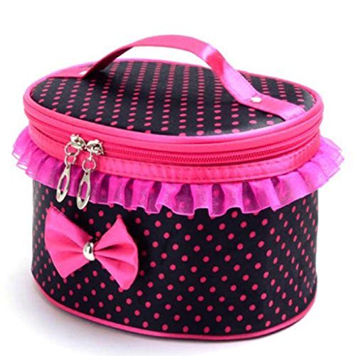 TRENDINAO Black Round Makeup Cosmetic Toiletry Bag Holder for Women Ladies Portable Travel Organizer (Round Rack Etagere)