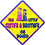 (SUN) BIG SISTER + LITTLE BROTHER ON BOARD (like baby on board sign) Non Personalised novelty baby on board car window sign.