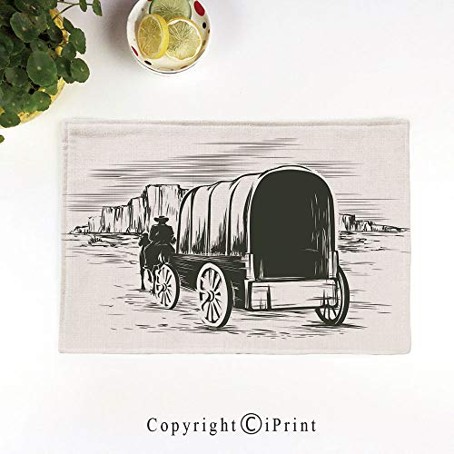 LIFEDZYLJH Machine Washable Placemats - Handcrafted with Classic Hemstitch & Mitered Corners,Old Traditional Wagon Wild West Prairies Pioneer on Horse Transportation Cart Decorative,Black and White