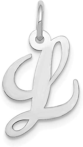 Solid 14k White Gold Diamond-cut Initial Letter A Alphabet Charm Pendant 17mm x 9mm
