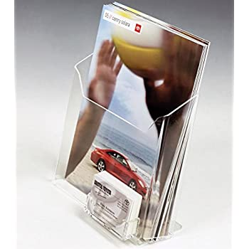 Image of Business Card Holders Displays2go Tabletop Literature Holder & Business Card Pocket, Set of 30, Clear (LH85BCC)