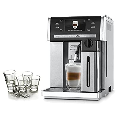 DeLonghi Prima Donna Exclusive Super Automatic Espresso Machine with Hot Chocolate System and Free Set of 6 Italian Espresso Shot Glasses