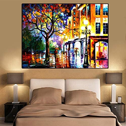 Wxqzhk Canvas Painting Landscape Posters And Prints Colorful Oil Painting Street Tree Wall Pictures For Living Room Cuadros Home Decor Painting Size Inch 60x80cm Amazon Co Uk Kitchen Home