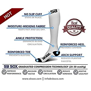 SB SOX Compression Socks (20-30mmHg) for Men & Women - BEST Stockings for Running, Medical, Athletic, Edema, Diabetic, Varicose Veins, Travel, Pregnancy, Shin Splints, Nursing. (White/Black, Small)