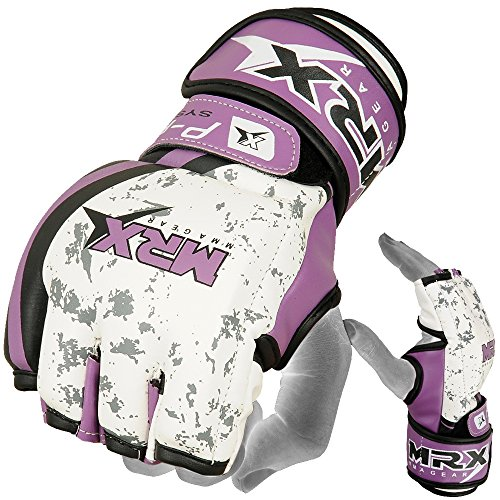 (MRX BOXING & FITNESS MMA Ladies Grappling Training Gloves Cage Women Fighting Sparring Gloves Purple (Medium))