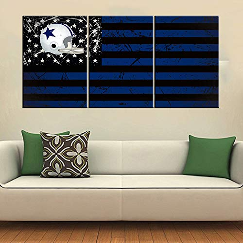 American Football Dallas Cowboys Pictures Blue Stars Artwork HD Prints Patriot Wall Art Giclee 3 Pieces Modern Canvas Painting for Living Room Home Decor Framed Stretched Ready to Hang(48''Wx24''H)