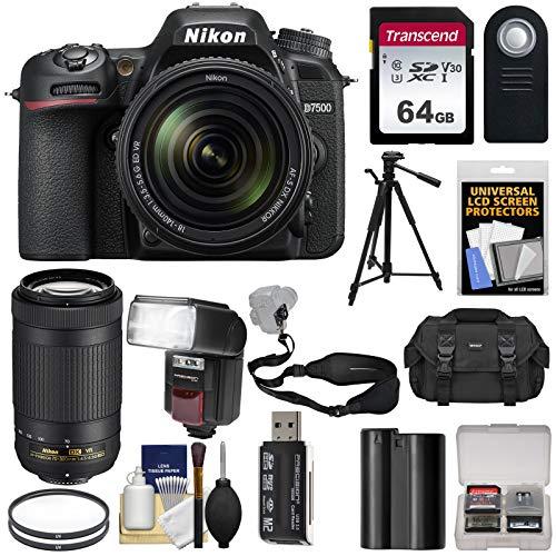 Nikon D7500 Wi-Fi 4K Digital SLR Camera with 18-140mm VR & 70-300mm VR DX AF-P Lens + 64GB Card + Battery + Case + Tripod + Flash + Filters + Kit