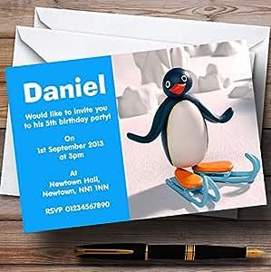 personalised photo paper card birthday party invites invitations PINGU PENGUIN 1
