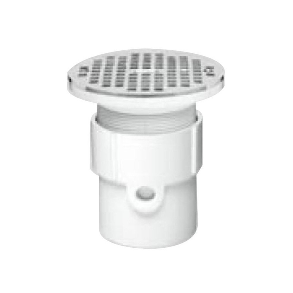 Oatey 72089 PVC Hub Base General Purpose Drain with 5-Inch CHR Grate 4-Inch