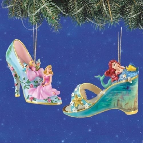 Disney's Once Upon A Slipper Sleeping Beauty and Ariel Figurine Shoe Ornaments Set of 2